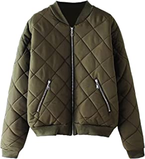 Escalier Women's Bomber Jacket Quilted Classic Solid Zip Up Short Biker Padded Coat