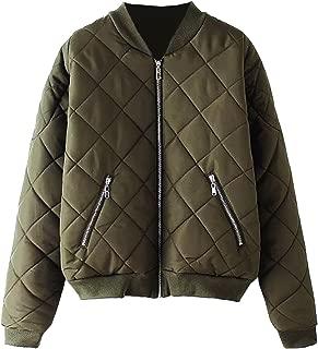 Women's Bomber Jacket Quilted Classic Solid Zip Up Short Biker Padded Coat