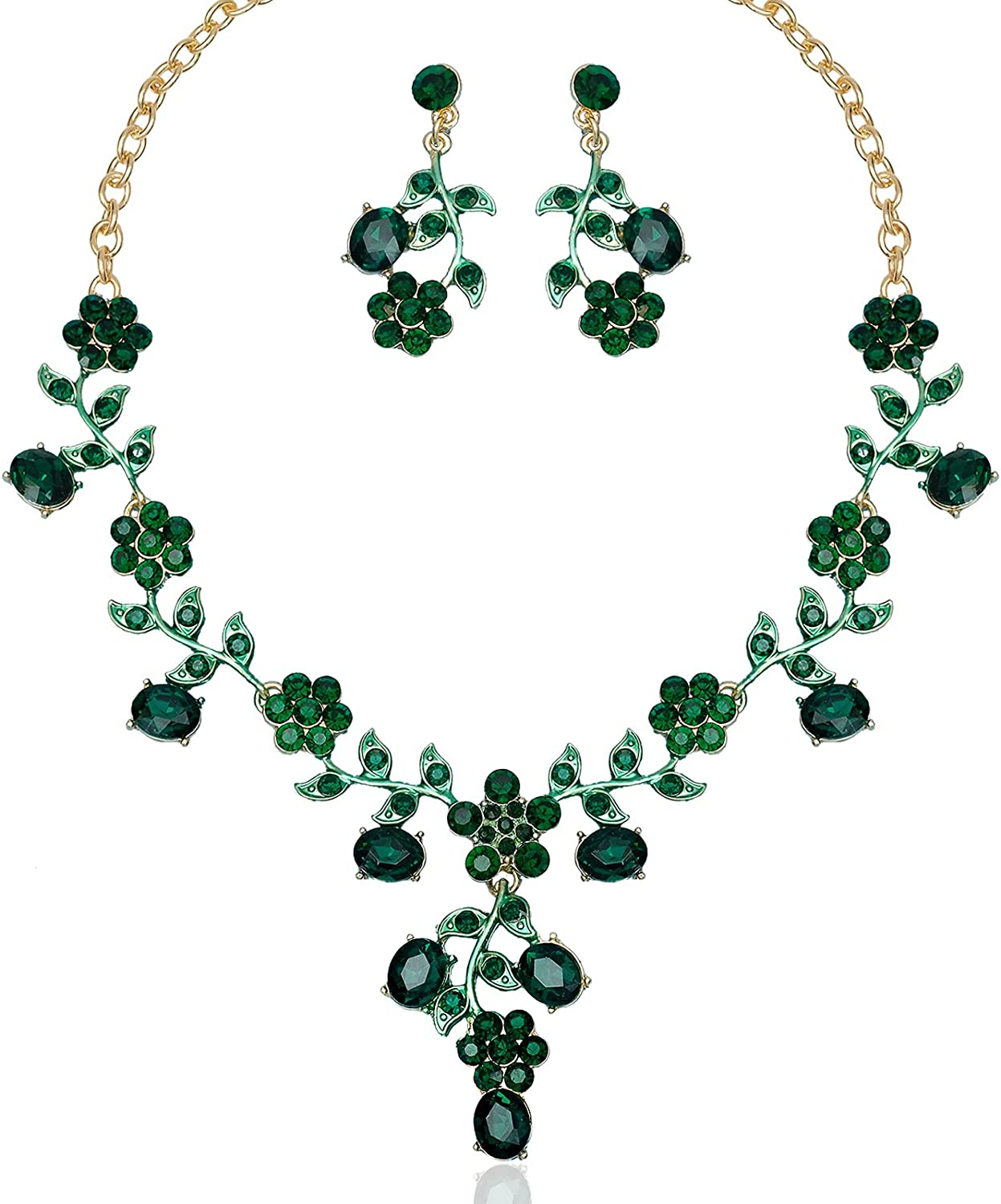 Bohemian Flower Leaf Bridal Statement Necklace Earring Austrian Crystal Wedding Jewelry Set for Bride Prom Dress Costume Accessories