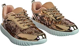 SF Forever Link Remy-18 Women's Jogger Sneaker-Lightweight Glitter Quilted Lace Up Shoes New