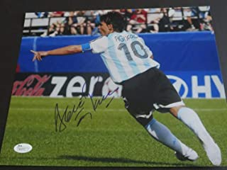 Sergio Aguero Autographed Signed Argentina 10X15 Photo with Proof JSA Authentic Manchester City