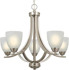 "Kira Home Weston 24"" Contemporary 5-Light Large Chandelier + Alabaster Glass Shades, Adjustable Chain, Brushed Nickel Finish"