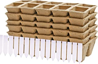 Jodimitty 10Pcs Seed Starter Trays Premium Biodegradable and Organic Germination Seedling Beige-A ,11.5cm 12 Grids with Plant Labels for Gardens Nurseries and Greenhouses
