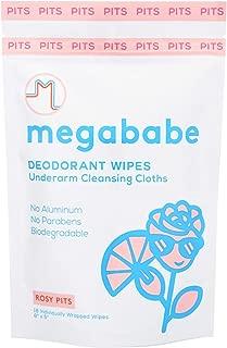 Megababe Deodorant Wipes Underarm Cleansing Cloths Rosy Pits No Aluminium No Parabens Biodegradable18 ct