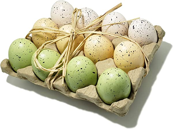 WsCrafts 12 Pcs Natural Speckled Foam Easter Eggs In Crate Easter Eggs Decorative Easter Ornaments 60mm