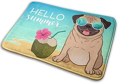 Hello Summer Bath Mat Cartoon Bulldog Dog On Vacation with Coconut Juice Non Slip Super Bathroom Rug Indoor Carpet Doormat Floor Dirt Trapper Mats Shoes Scraper 24x16 Inch