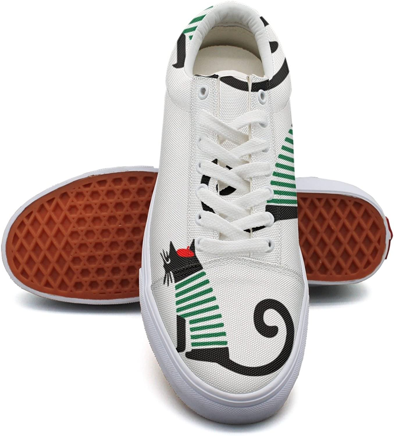 Cute Cartoon Sitting Christmas Cat Fashion Canvas Sneaker shoes For Womns 3D Printed Low Top shoes