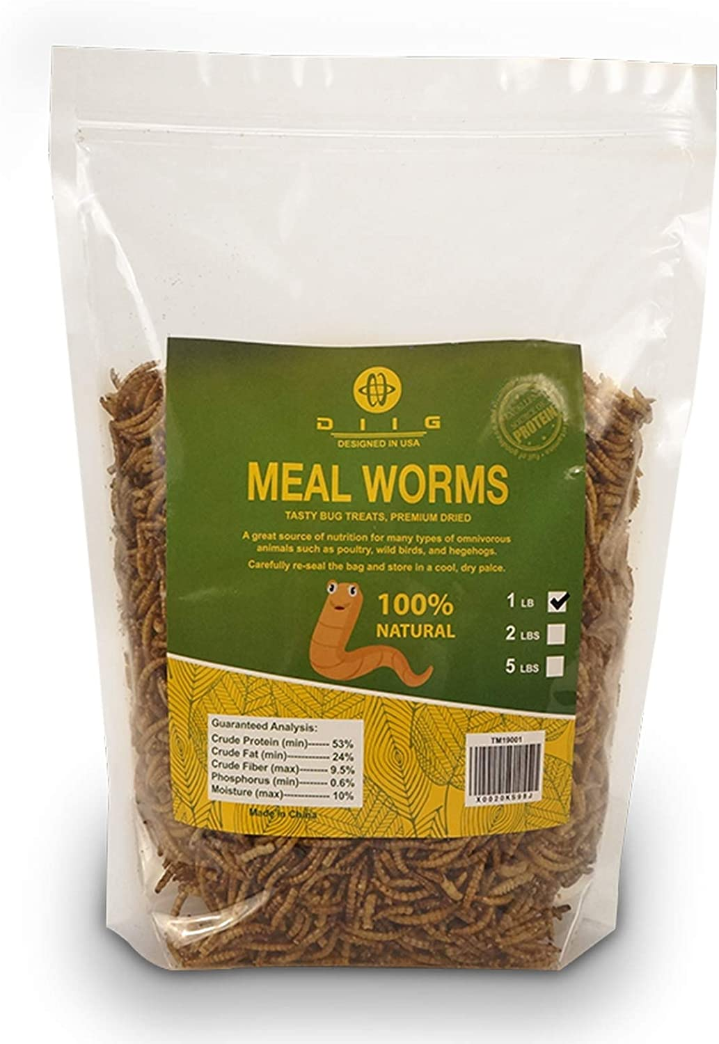 diig Non-GMO Dried Mealworms - Treats for Birds Chickens Hedgehog Hamster Fish Reptile Turtles, 1 lb