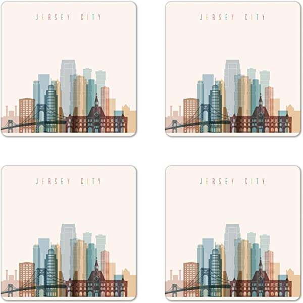 Ambesonne Jersey City Coaster Set Of 4 New Jersey Skyline With Big American Town Buildings With Bridge Urban Print Square Hardboard Gloss Coasters For Drinks Multicolor