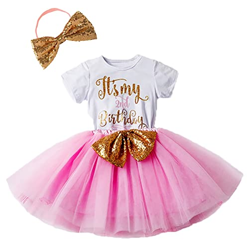 Newborn Baby Infant Toddler Girls Its My 1st 2nd Birthday Cake Smash Shiny Printed Sequin