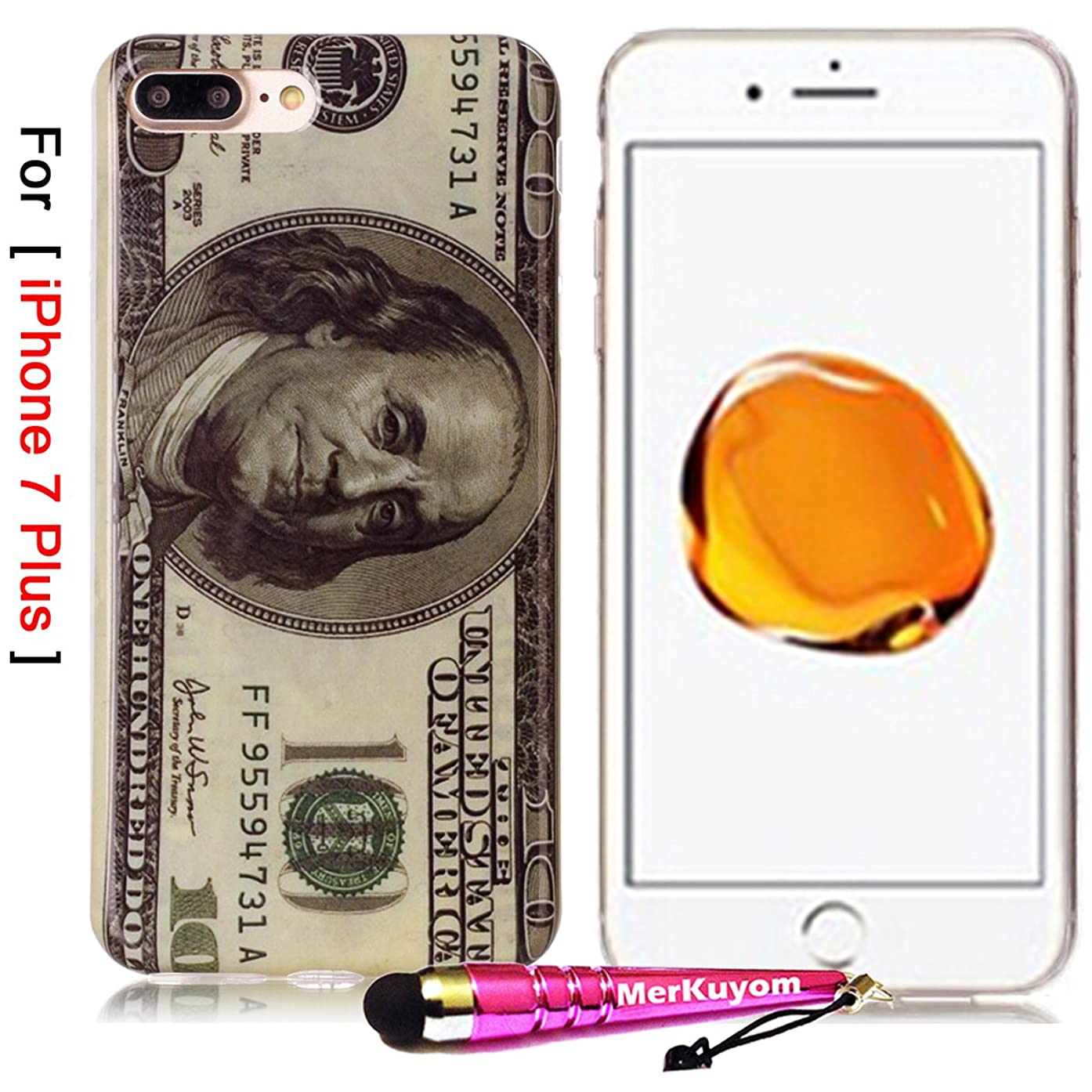 iPhone 7 Plus - Case, MerKuyom [Slim-Fit] [Flexible Gel] Soft TPU Case Skin Cover W/ Stylus For Apple iPhone 7 Plus , iPhone 7Plus (2016) – 5.5 inch (US Money Pattern)