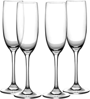 Amlong Crystal Champagne Flutes Glasses, Lead-Free, Clear Stem, Set of 4 Lead Free Glasses