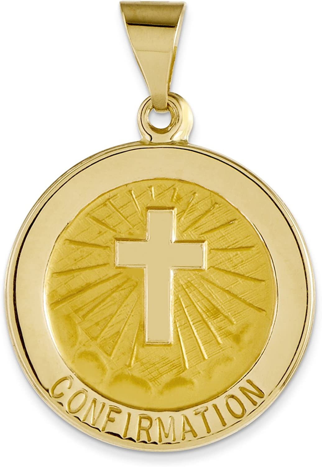 14k Yellow gold Confirmation Medal Round Pendant