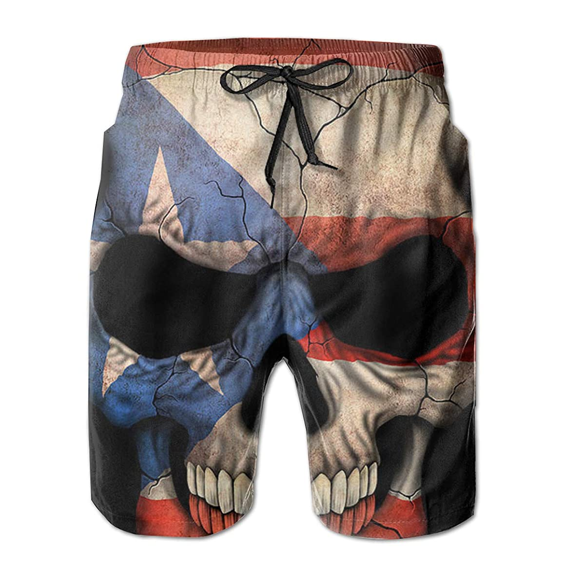 K-Dark Puerto Rican Flag Skull Men's Summer Surf Board Short Swim Trunks Bathing Suit