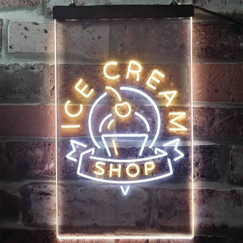 ADVPRO Ice Cream Shop Café Dual Farbe LED Barlicht Neonlicht Lichtwerbung Neon Sign Weiß & Gelb 300 x 400mm st6s34-i2518-wy
