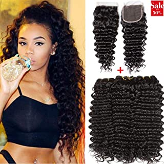 Jaycee Brazilian Deep Wave Human Hair Bundles with Closure 8A Grade Unprocessed Virgin  Brazilian Hair Weave 3 Bundles with Free Part Lace Closure For Women Natural Color(14 16 18 +12 Closure)