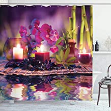 Ambesonne Spa Decor Collection, Violet Composition Candles Oil Orchids and Bamboo on Water Natural Leaves Picture Print, Polyester Fabric Bathroom Shower Curtain Set with Hooks, Pink Green Lilac