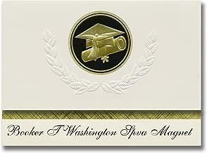 Signature Announcements Booker T Washington Spva Magnet (Dallas, TX) Graduation Announcements, Presidential style, Elite package of 25 Cap & Diploma Seal Black & Gold