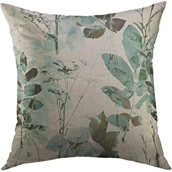 Amazon Com Mugod Decorative Throw Pillow Cover For Couch Sofa Vintage Blurred Monochrome Green Blue Brown Watercolor Graphic Floral With Grasses Leaves Home Decor Pillow Case 18x18 Inch Home Kitchen