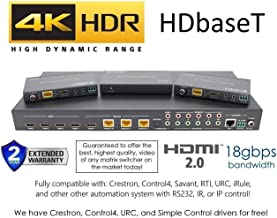 4x4 HDR 18GBPS 4K HDMI Matrix SWITCHER 3 PoC Receivers HDMI 2.0a 2.0 CAT6 CAT5e HDMI HDCP2.2 Routing SPDIF Audio CONTROL4 Savant Home Automation