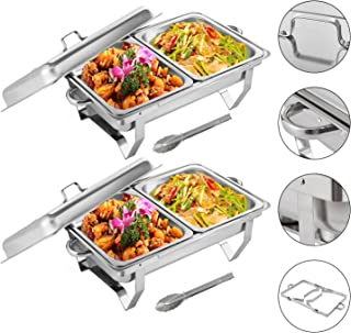 EOSAGA Chafing Dish 8 Quart Chafer Dish with Folding Frame Stainless Steel Rectangular Chafer Complete Set with 2 Half Size Pan (2 Packs)