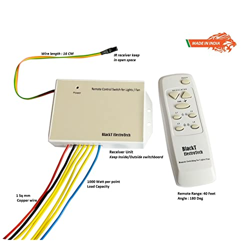 Blackt Electrotech Wireless Remote Control Switch System For 4 Lights & 1 Fan With Speed Regulation/Dimmer Humming Less (Made In India)