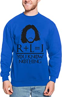 R + L = J You Know Nothing - TV Show Parody Unisex Crewneck Sweatshirt