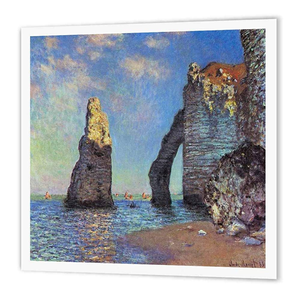 3dRose ht_49337_3 Monet-The Cliffs at Etretat-Iron on Heat Transfer Paper for White Material, 10 by 10-Inch