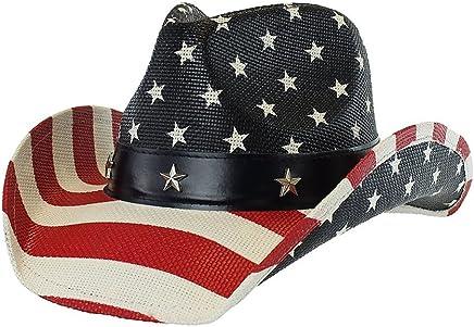 b63df4ede9f Men s Vintage USA American Flag Cowboy Hat w  Western Shape-It Brim…