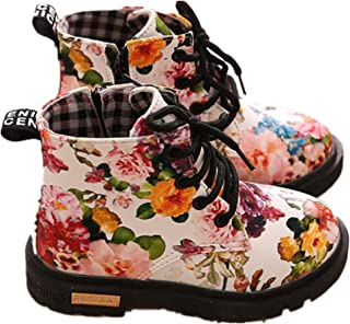 Toddler Baby Kids Girls Boys Fashion Floral Lace-Up Shoes Boots Casual Children Boots