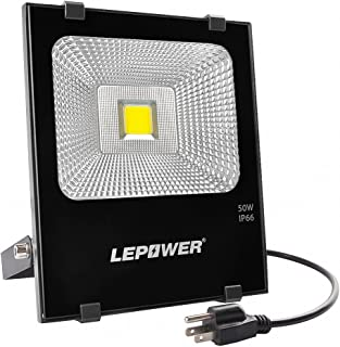 LEPOWER 50W LED Flood Light Outdoor, 4000lm Super Bright Work Light, 250W Halogen Bulb Equivalent, 6000K White Light, IP66 Waterproof Outdoor Flood Light for Garden, Backyard, Garage, Playground