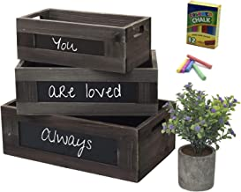 Rustic Wooden Basket Crates for Storage with Chalkboard and Artificial Plant, Farmhouse Home Decor, Kitchen and Living Roo...