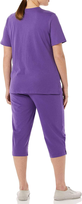 Women/'s Capri Top /& Pants Outfit AmeriMark Embroidered Floral Trim Capri Set