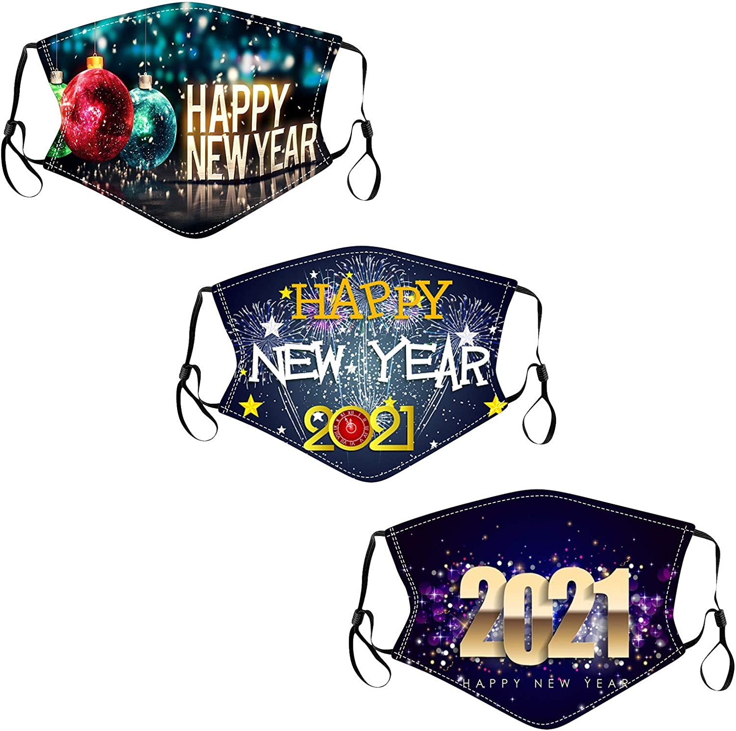 BEUU 1PC+1PC Merry Christmas and Happy New Year Adults Mouth Face Bandana Washable Reusable Bandanas for Cycling Camping