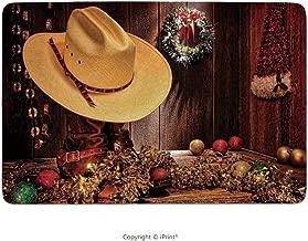 Bathroom Rug, Western Decor,Farmhouse with Christmas Decorations with Wreath Americana Style Image Print,Cream Brown, Non Slip Coral Velvet Foam Bath Mat, Shower Mat Kitchen Rug