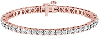 1.00 Carat Real Diamond Circle Link Tennis Bracelet (J, I3) Rhodium Plated Over Sterling Silver Illusion Set Miracle Plate...