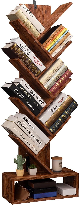 BaiTree 8-Shelf Attention brand Tree Bookshelf Bookcase Bookshe Regular discount Standing Floor