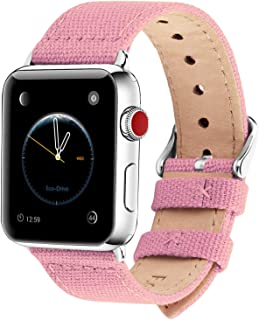 Fullmosa Compatible Apple Watch Band 44mm 42mm 40mm 38mm, 8 Colors Canvas Style for iWatch Strap Compatible with Apple Watch Series 4/5 (44mm) Series 3/2/1 (42mm),44mm 42mm Sakura Pink