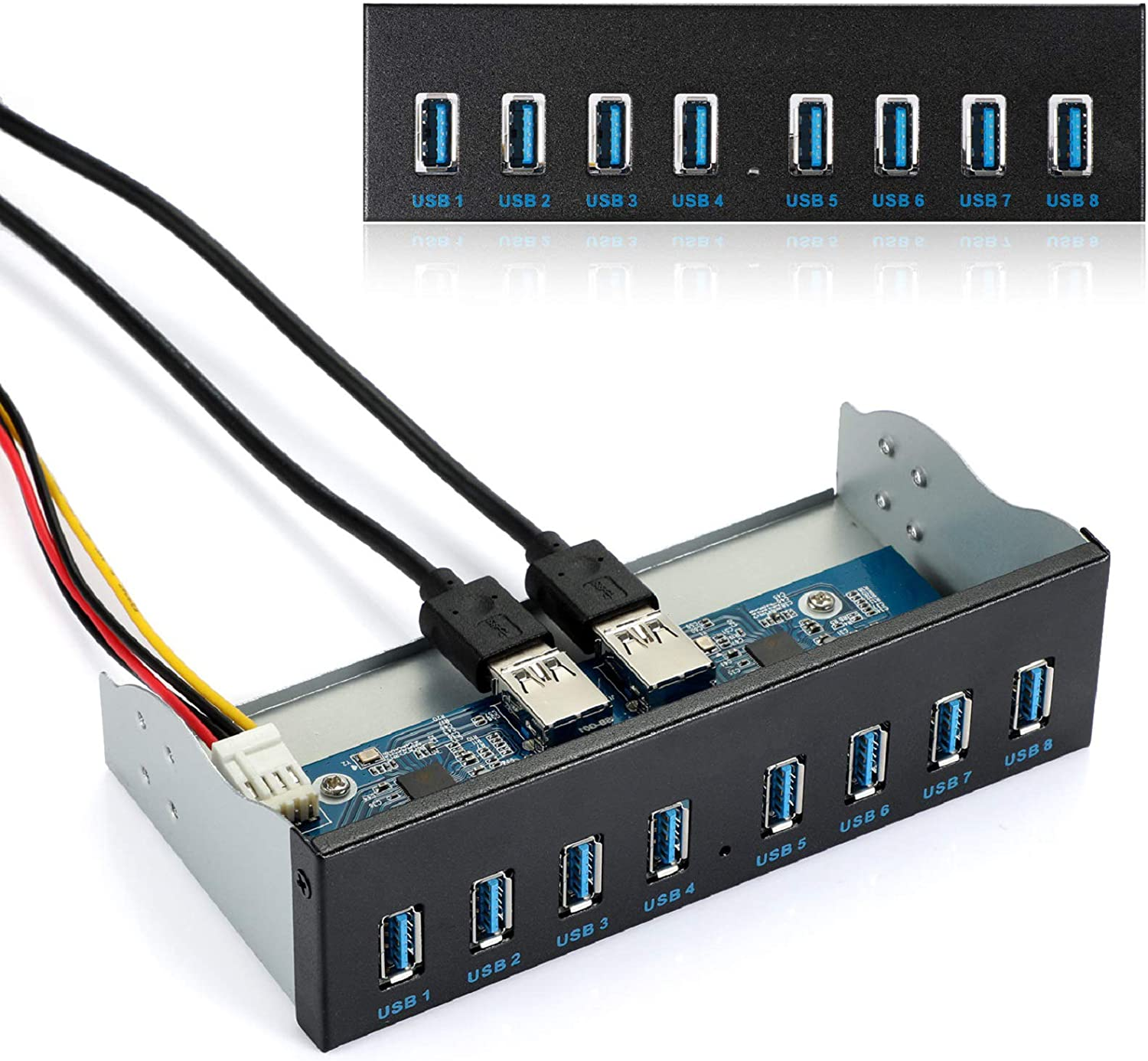 """MZHOU Front Panel USB 3.0 Hub 8 Port,19 Pin to 8 Port USB 3.0 Hub for PC, USB Flash Drives, Transfer Speed up to 5 Gbps, Fits Any 5.25"""" Computer Case Front Bay"""