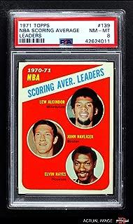1971 Topps # 139 NBA Scoring Average Leaders Lew Alcindor/Elvin Hayes/John Havlicek Milwaukee/Boston/Houston Bucks/Celtics/Rockets (Basketball Card) PSA 8 - NM/MT Bucks/Celtics/Rockets