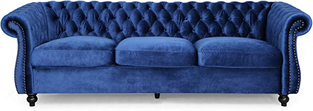 Vita Chesterfield Tufted Jewel Toned Velvet Sofa with Scroll Arms, Navy Blue