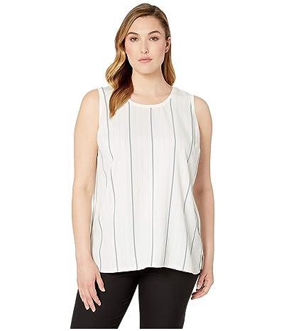 Vince Camuto Specialty Size Plus Size Sleeveless Striped Sportswear Mix Media Tank (Pearl Ivory) Women