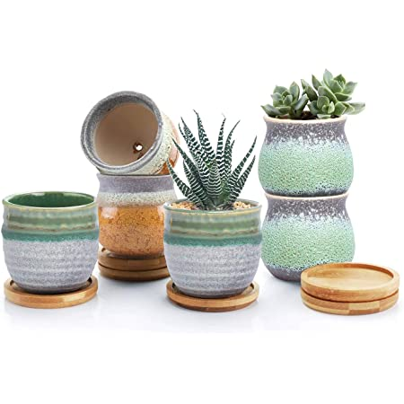T4U 2.5 Inch Small Ceramic Succulent Pots with Bamboo Tray Set of 6, Sagging Glazed Porcelain Summer Serial Handicraft for Mom Sister Home Office Table Desk Windowsill Decoration