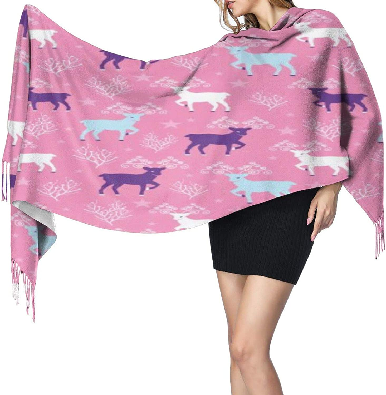 Cashmere fringed scarf Pink Winter Reindeer winter extra large scarf