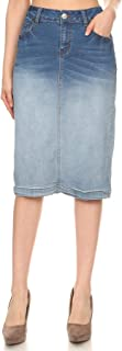 Women's Plus/Junior Size Ombre Pencil Mid Length Stretch Denim Skirt