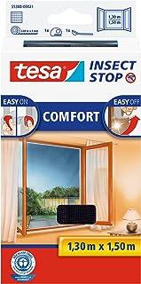 tesa Insect Stop Comfort vliegenhor voor ramen/insectenbescherming met zelfklevend klittenband/antraciet (10-pack, 130 cm ...