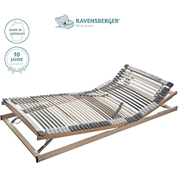 RAVENSBERGER Lattenrost Klassik (Medimed) VARIABEL 44-Leisten 7-Zonen-BUCHE-Lattenrahmen | Verstellbar | Made IN Germany - 10 Jahre GARANTIE | TÜV/GS + Blauer Engel - Zertifiziert | 90 x 200 cm