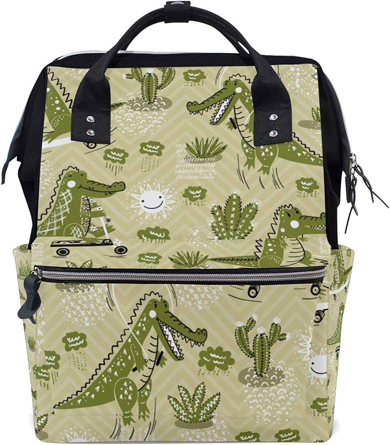 ColourLife Diaper bag Backpack Cute Crocodile Pattern Casual Daypack Multifunctional Nappy Bags for Women Girls