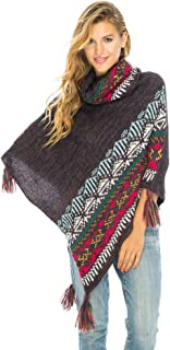 Womens Knit Sweater Cape Boho Soft T Neck Cowl Neck Poncho Tassels