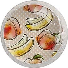 Kabinet lade knoppen aquarel perzik en banaan trekt handgrepen voor keuken kast badkamer kast dressoir, 4 Pack